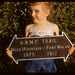 Siona Lidfors with NWMP Trail Marker.	 Shaunavon.	 08/30/1960